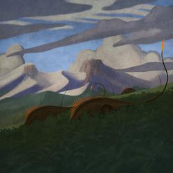 palaeo, painting, dinosaurs, sauropods, jurassic, south america, argentina, minimal, poster