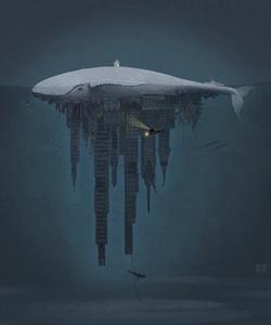 paintings, whales, submarines, cities, ocean, surreal