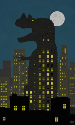 ceratosaurus, dinosaurs, silly, cities, 50s, posters, vector, gozilla, theropods, surreal