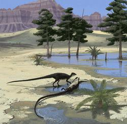 palaeo, painting, dinosaurs, ornithischians, north america, jurassic, deserts, oasis, mud bathing, rolling about, ely kish