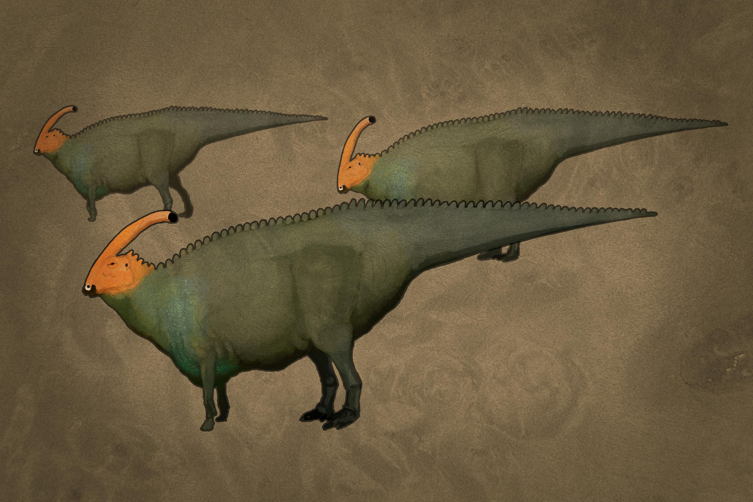 palaeo, painting, all yesterdays, all_yesterdays, dinosaurs, parasaurolophus, north america, speculative