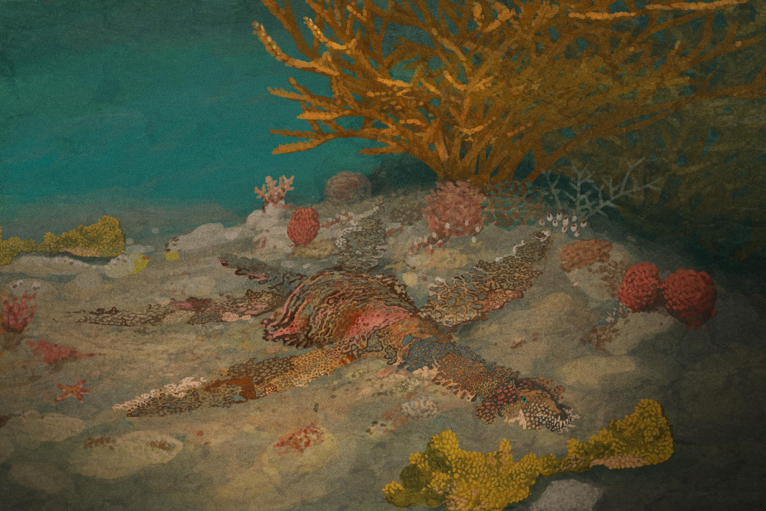 palaeo, painting, all yesterdays, all_yesterdays, wobbegong, plesiosaurs