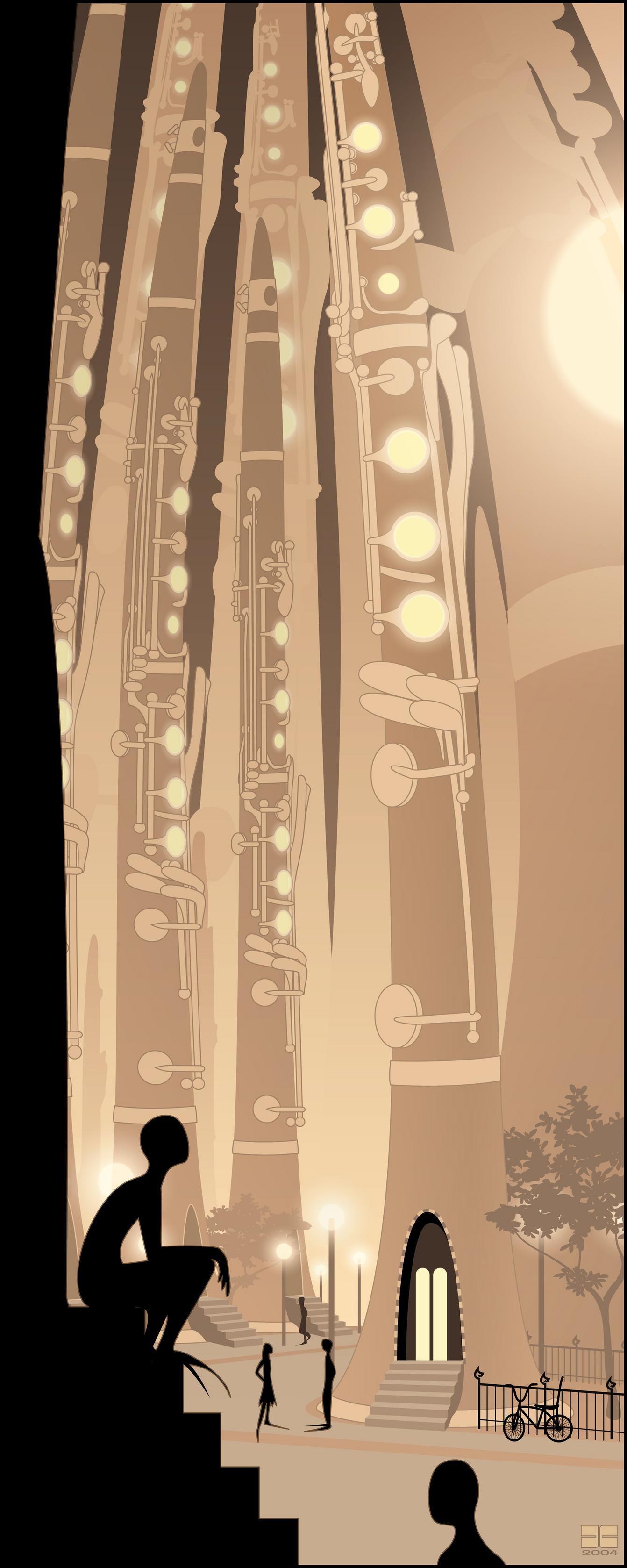 clarinetropolis, vector, jazz, cities, city, long shoes, clarinets, music