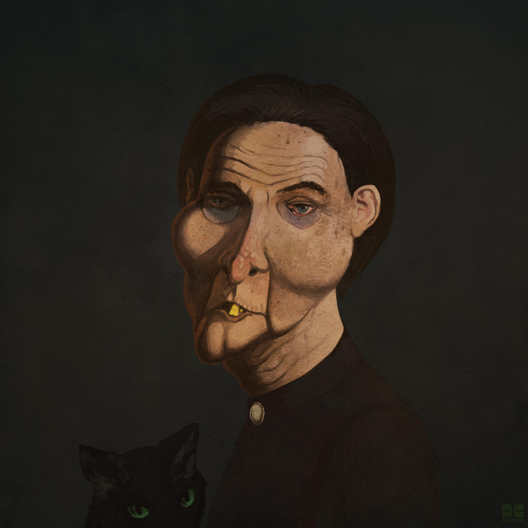 paintings, old and ugly, portraits, cats, people
