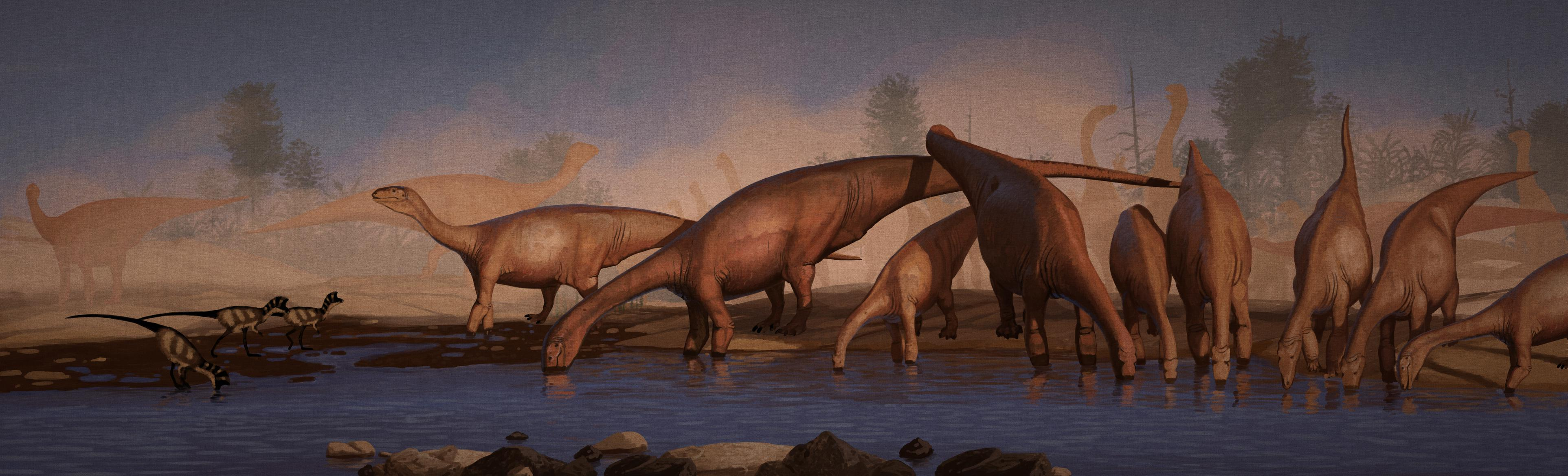 palaeo, painting, dinosaurs, ornithiscians, prosauropods, sauropodomorphs, watering hole, sunset, herds, triassic, south africa