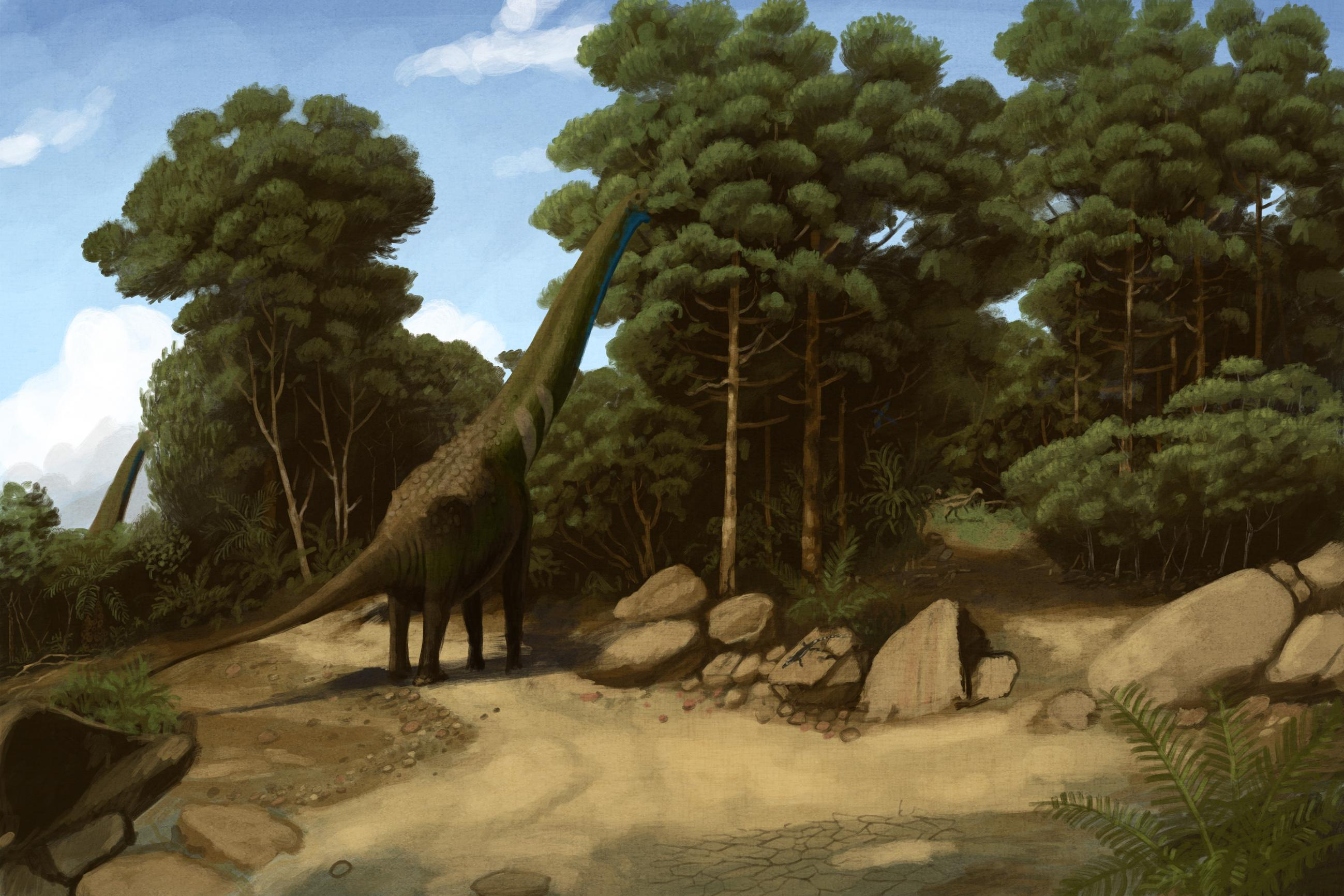 palaeo, painting, dinosaurs, sauropods, early cretaceous, malawi, corot, forest