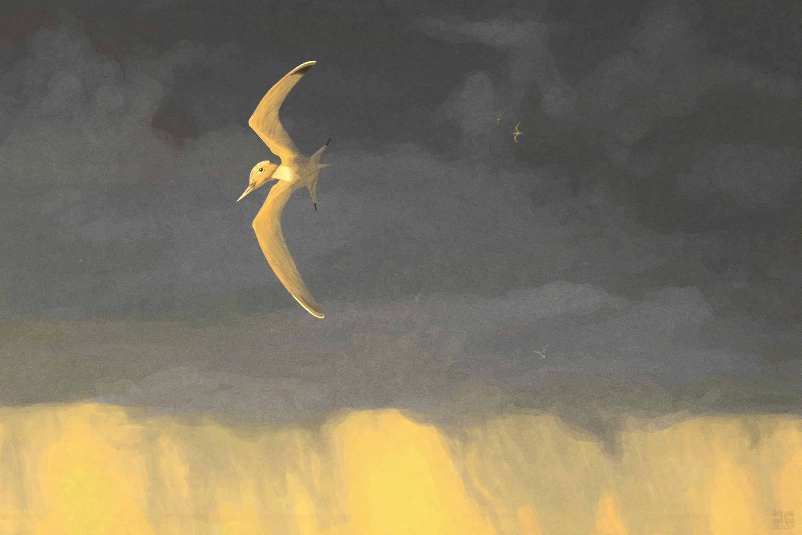 palaeo, pterosaurs, storms, paintings, sunsets