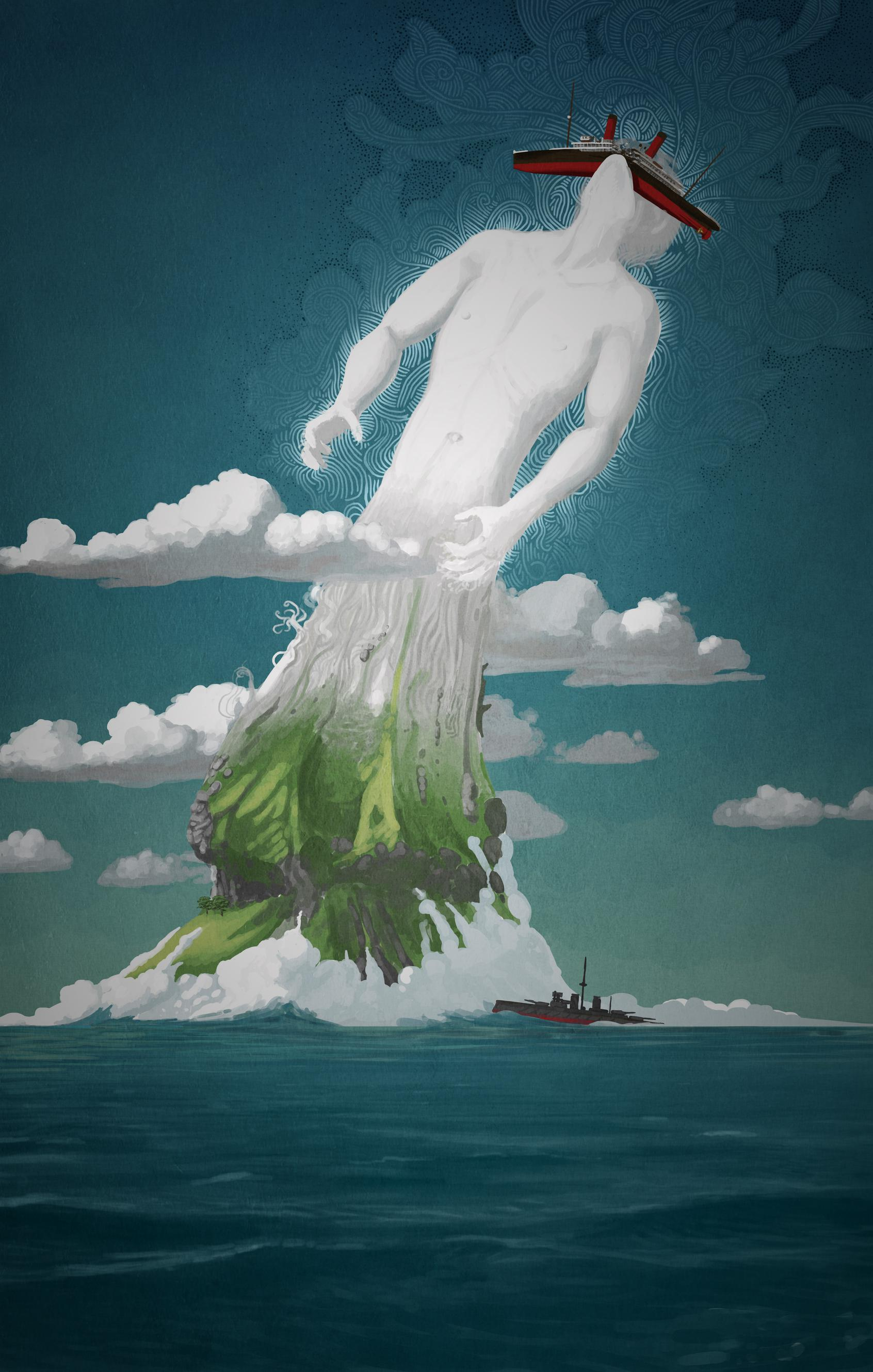 gods, ocean liners, surreal, islands, sea, mythology