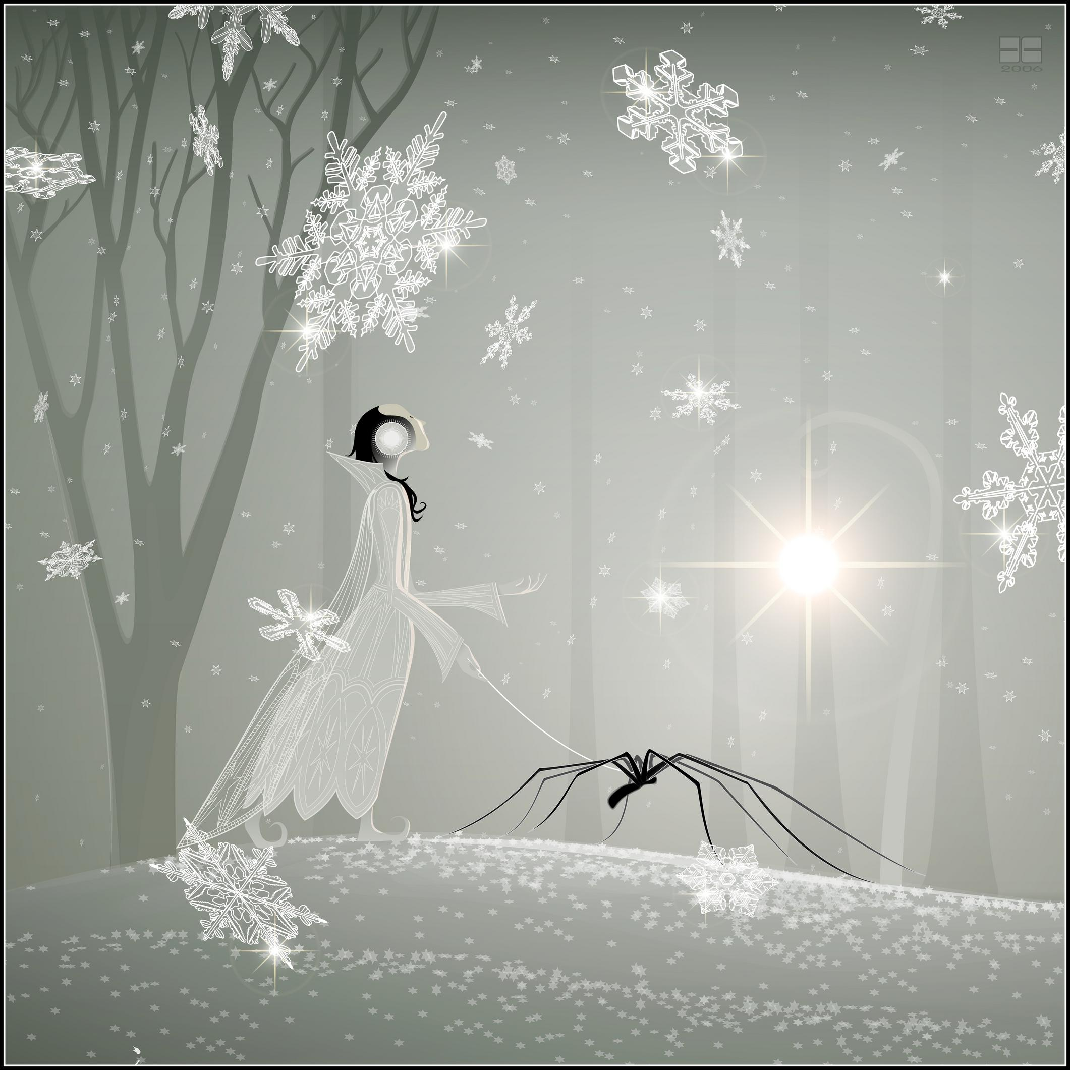 snow-spider, vector, spiders, snow, fairies