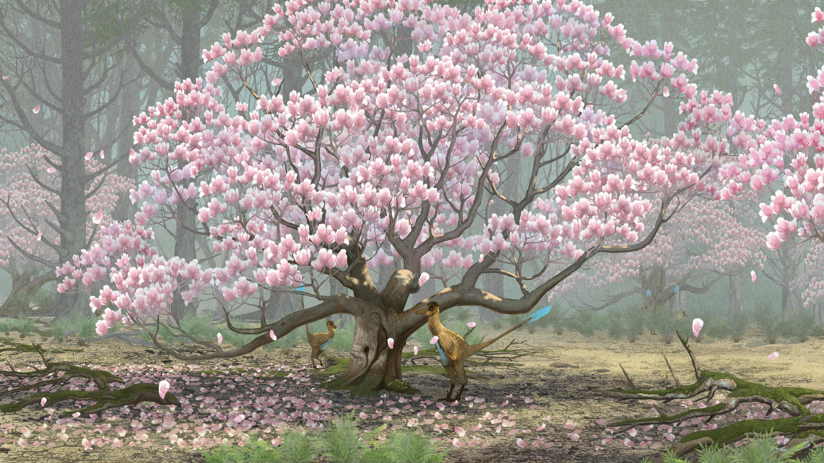 palaeo, painting, paleo, dinosaurs, troodon, arctic, canada, magnolias, flowers, feathered dinosaurs